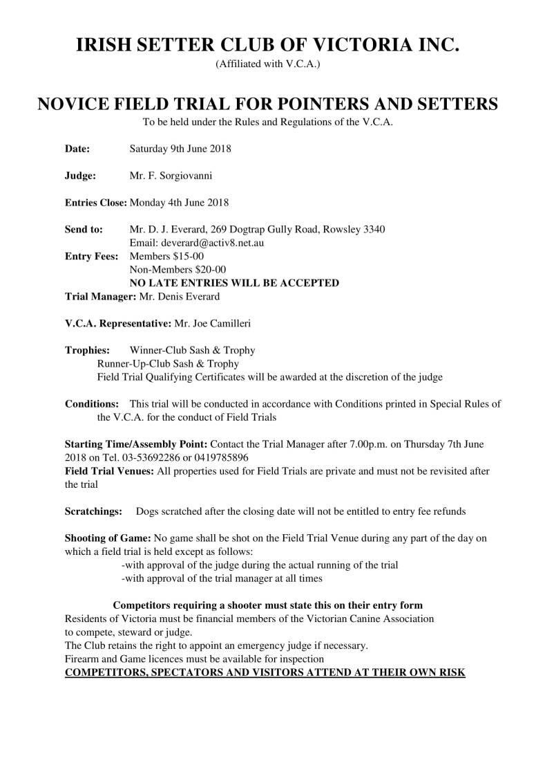 IRISH SETTER CLUB OF VICTORIA INC Field Trial Novice-1