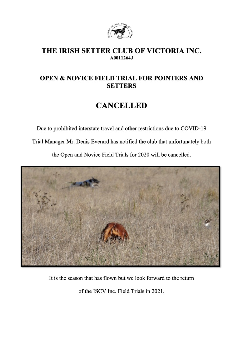 2020 Field trial cancellation notice
